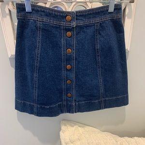 Madewell button front denim skirt